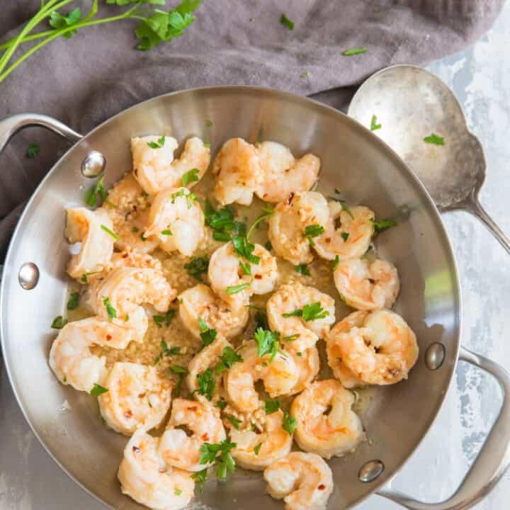garlic shrimp silver saute pan