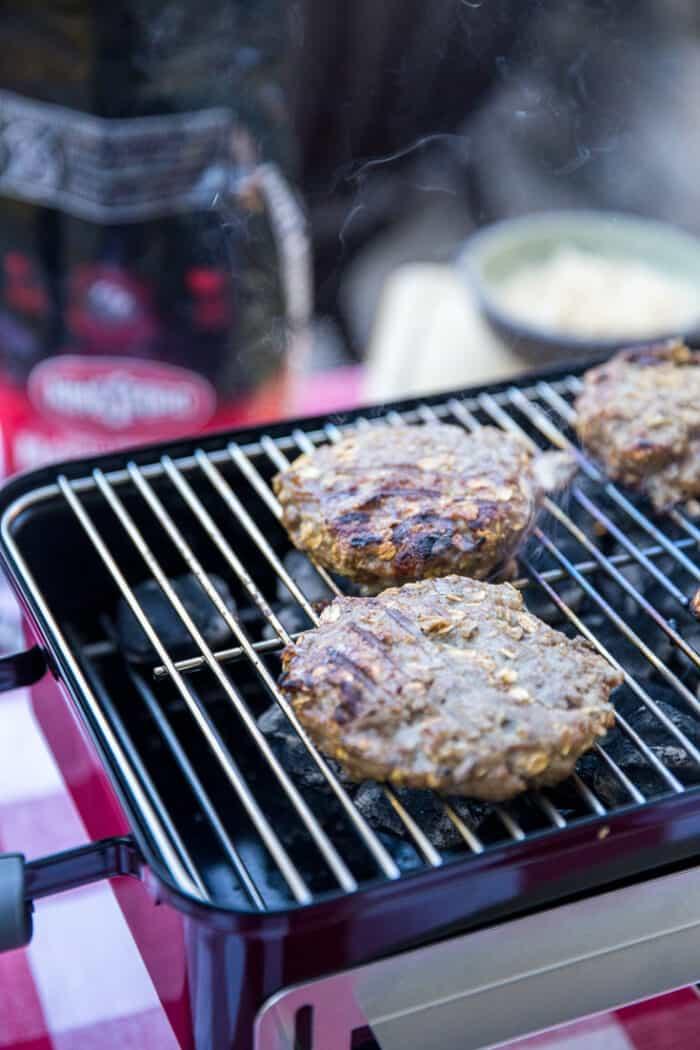 goetta burger on the grill