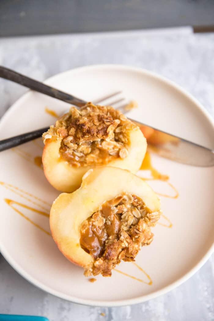 halved baked apple