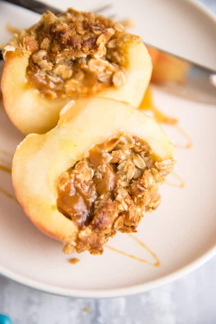 caramel filled baked apple