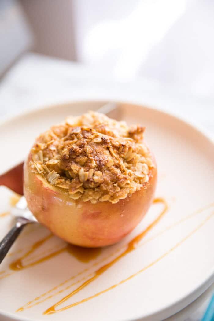 Baked apples white plate