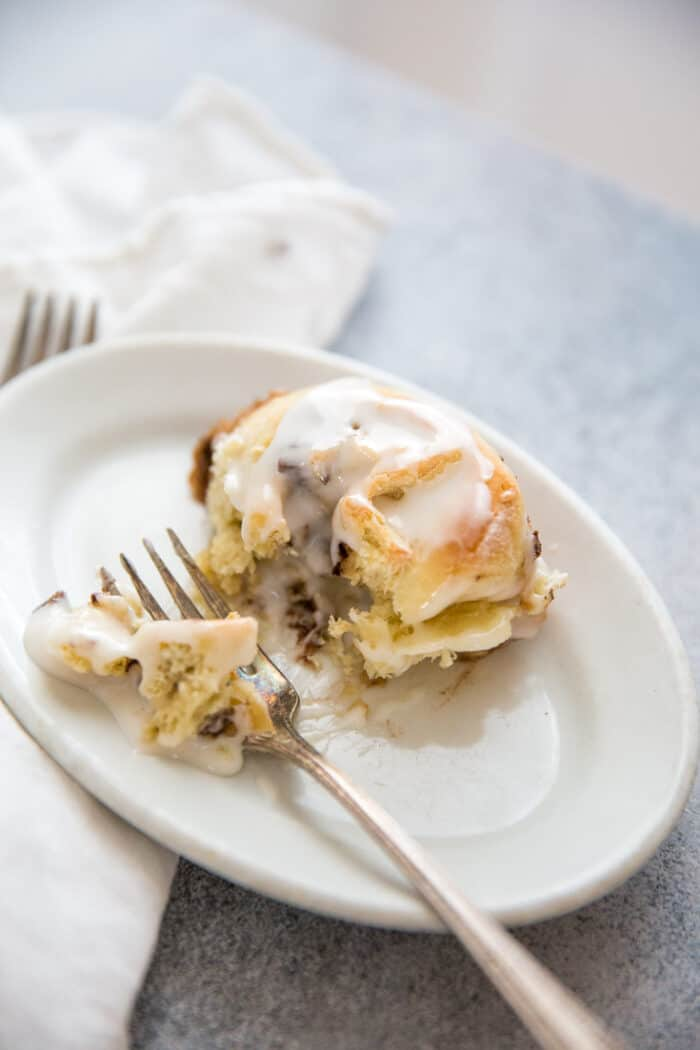 cinnamon rolls plate and fork