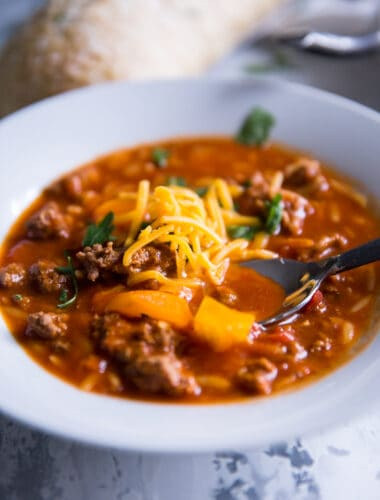 stuffed pepper soup with cheese