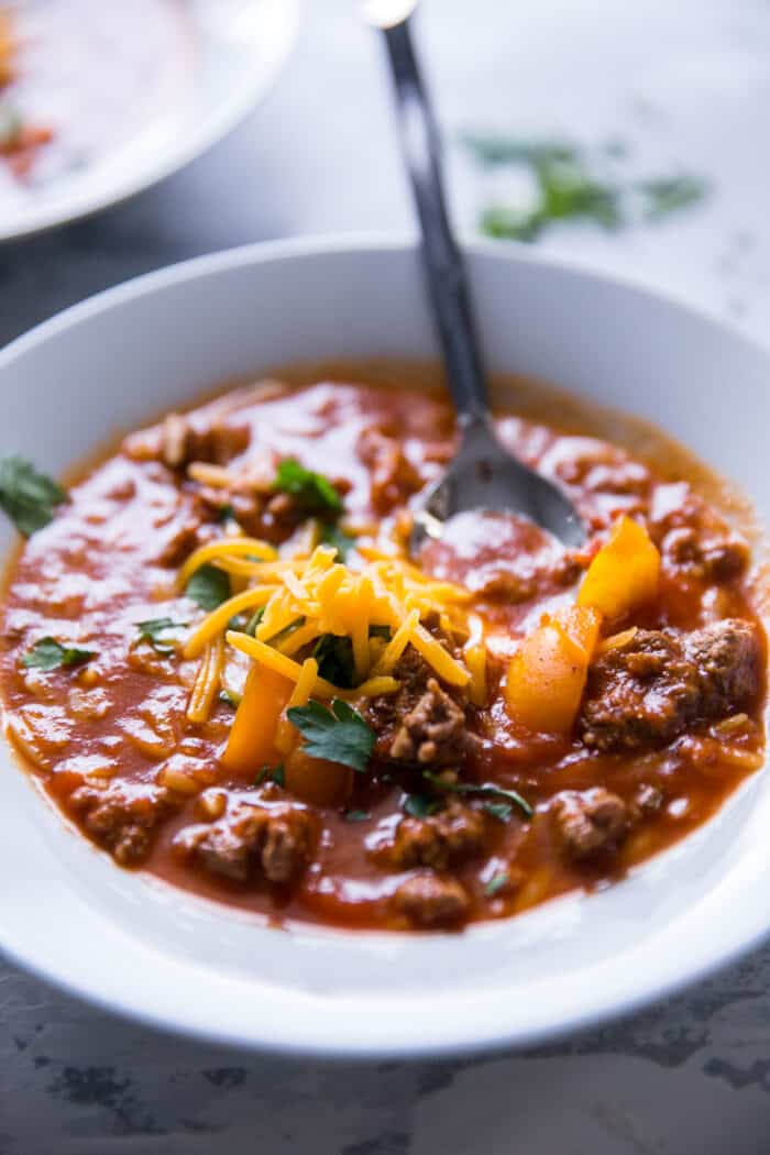 stuffed pepper soup with spoon