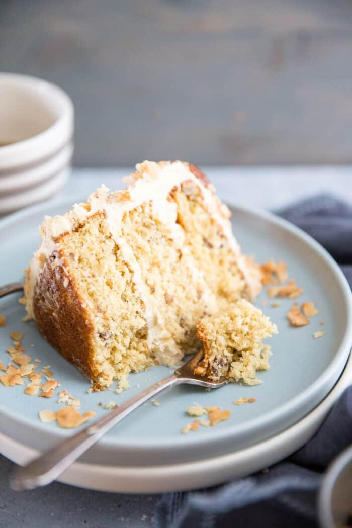 Italian cream cake slice with fork