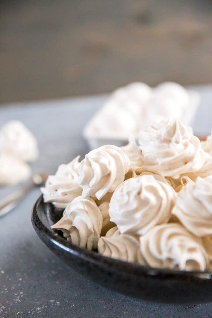 chai meringue cookies in a bowl
