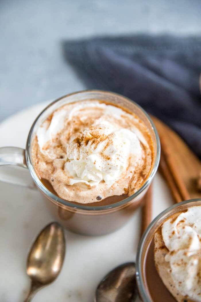 chai tea latte with chocolate and cinnamon