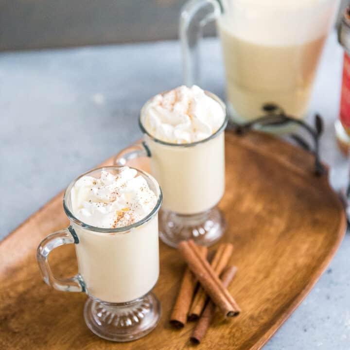 homemade eggnog recipe two glasses