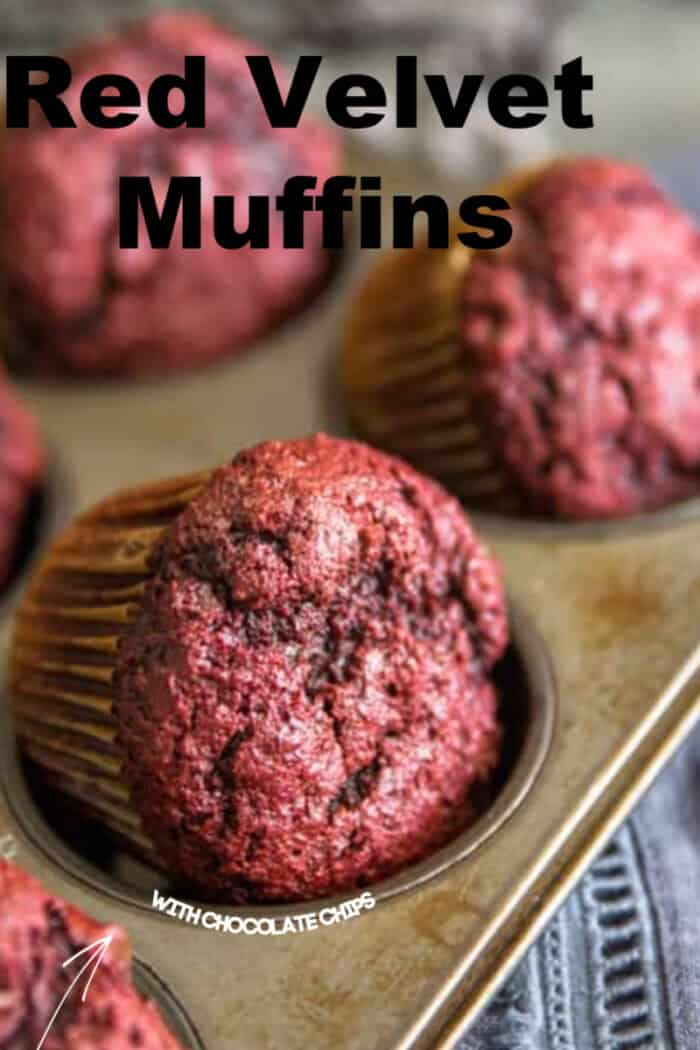red velvet chocolate chip muffins title