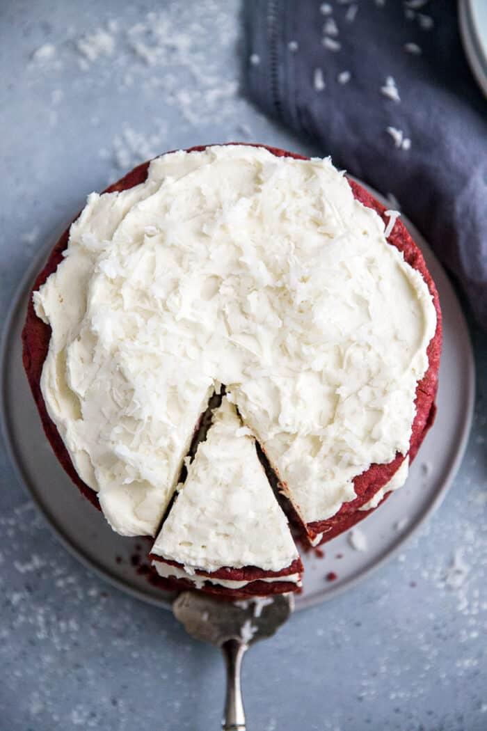 red velvet cookie cake a slice cut