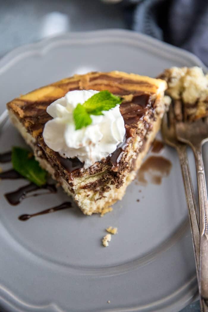 Tiramisu cheesecake bite taken out