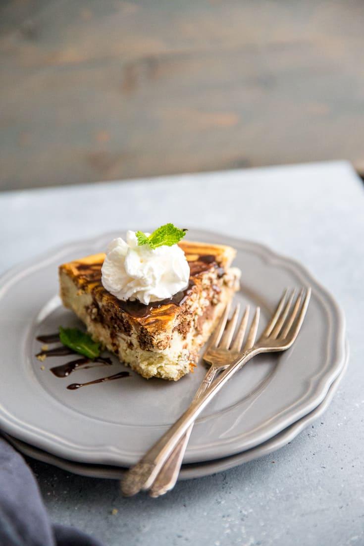 Tiramisu cheesecake two forks