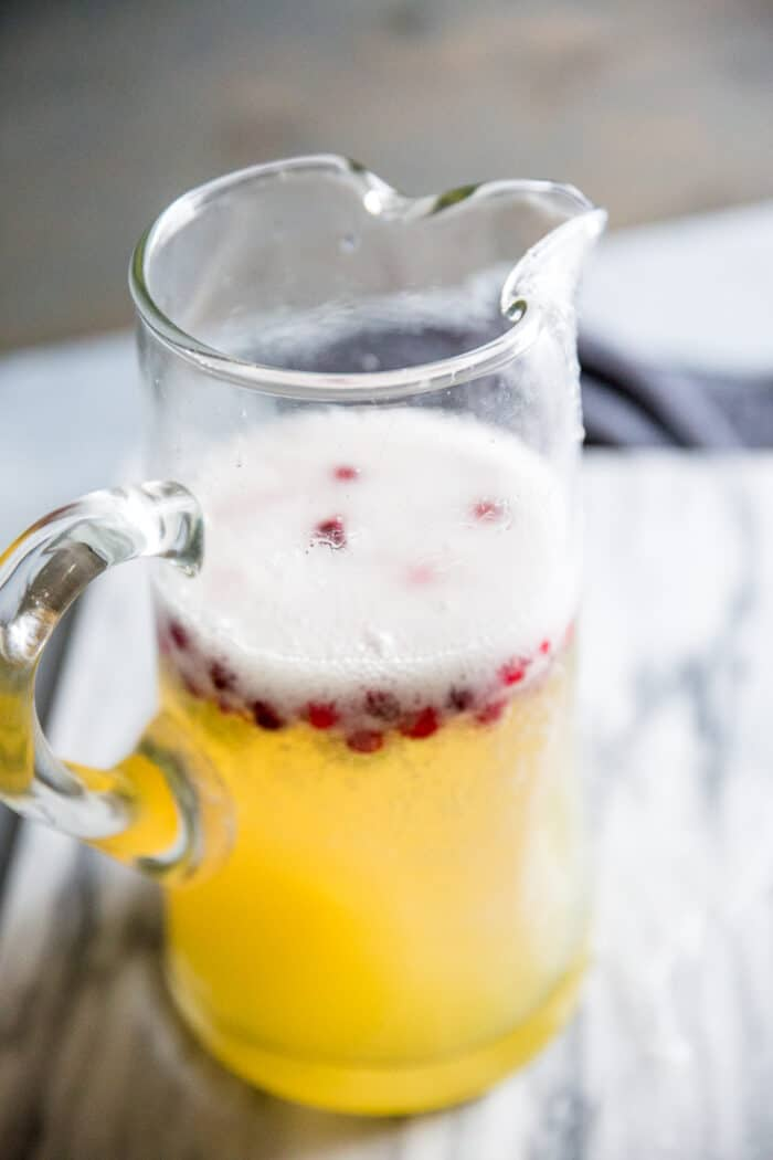 white wine sangria in a pitcher