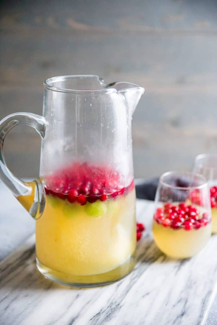 white wine sangria with cranberries