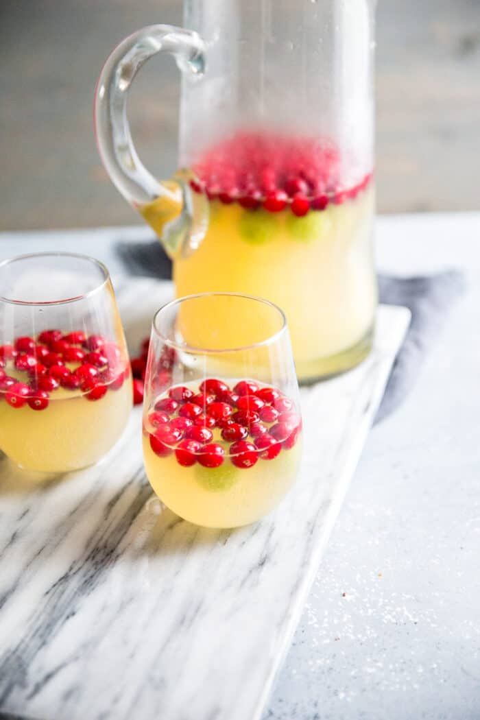 white wine sangria pitcher and two glasses