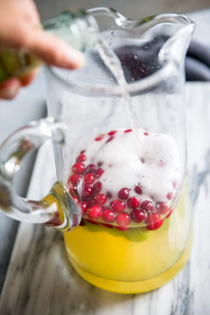 white wine sangria with champagne