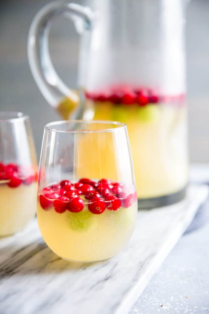 White sangria glass and pitcher