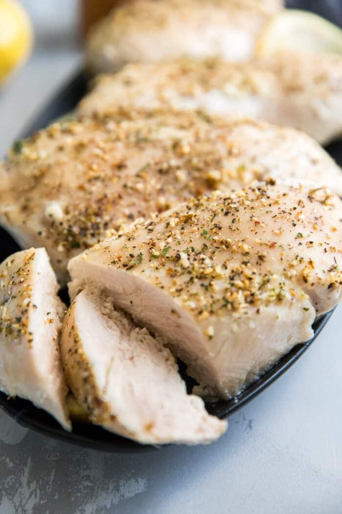 sliced Mediterranean baked chicken