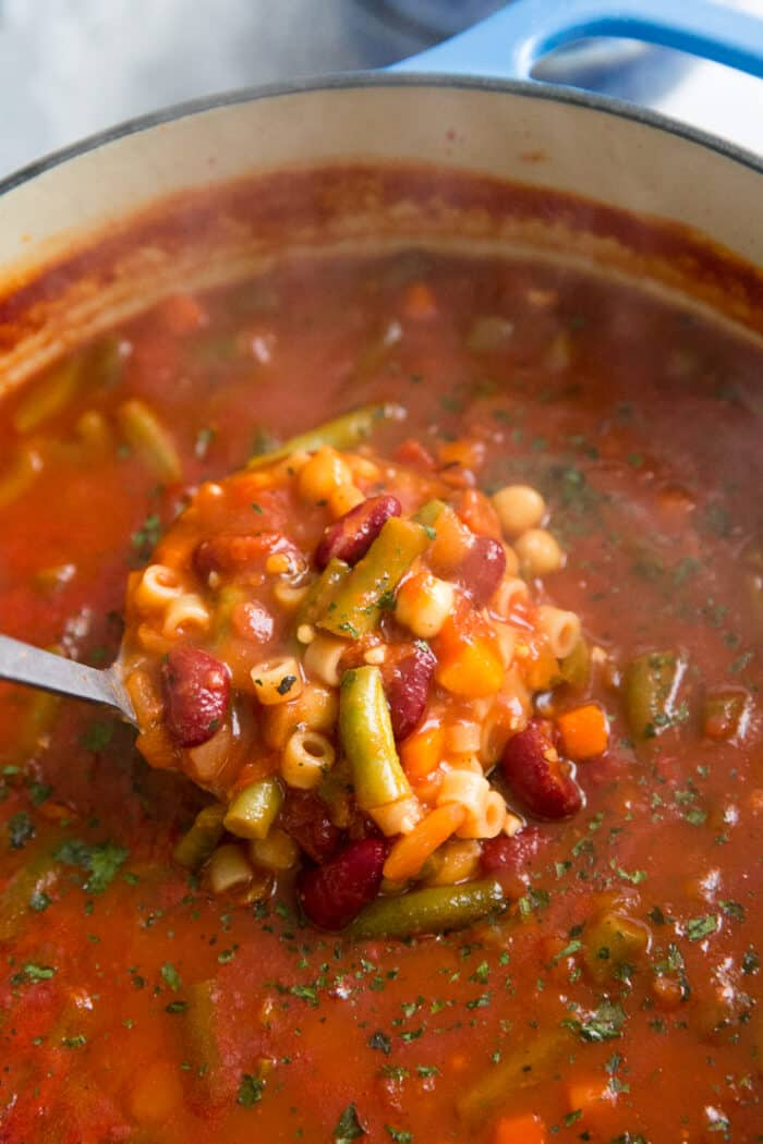 mimestrone soup ladle full