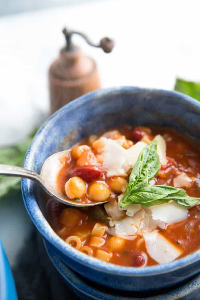 minestrone soup bowl with spoon