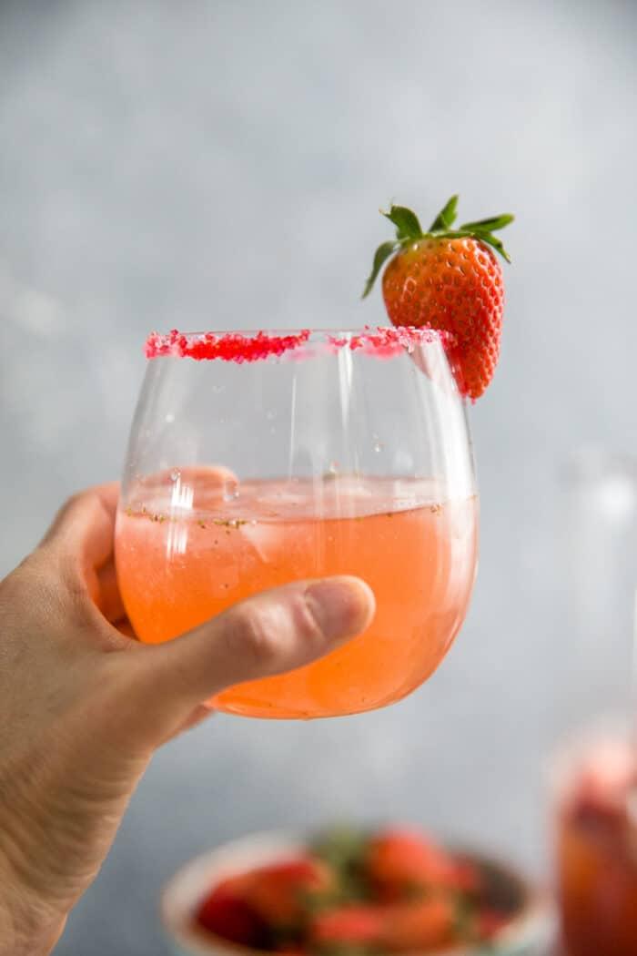 Held strawberry margarita