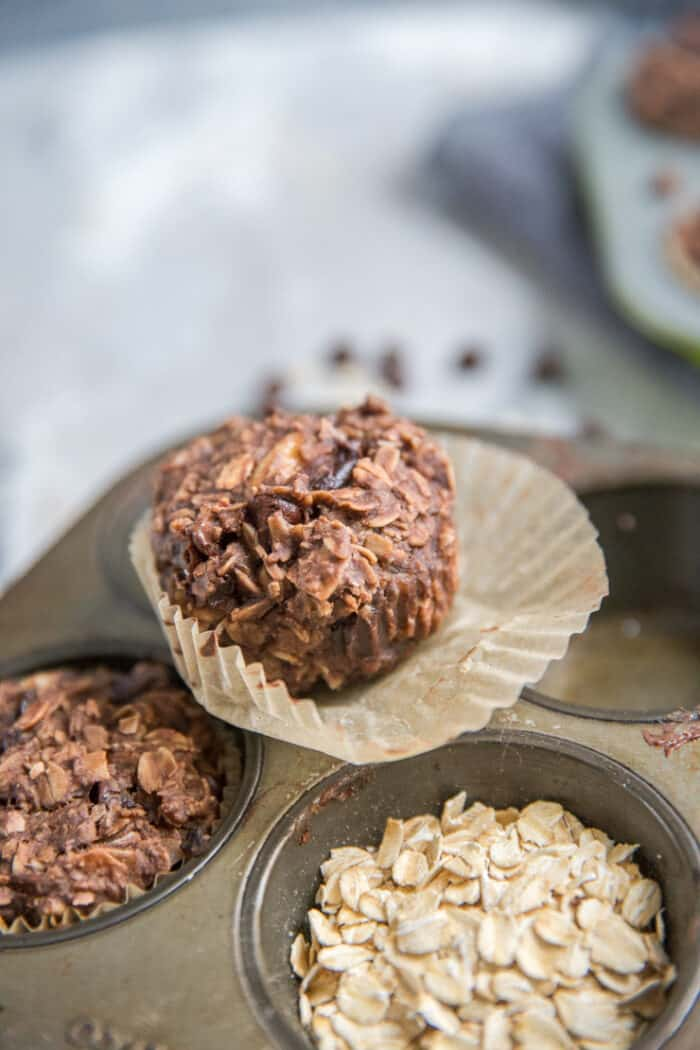 unwrapped chocolate chip muffin