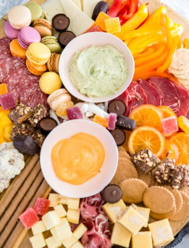 charcuterie platter with dips