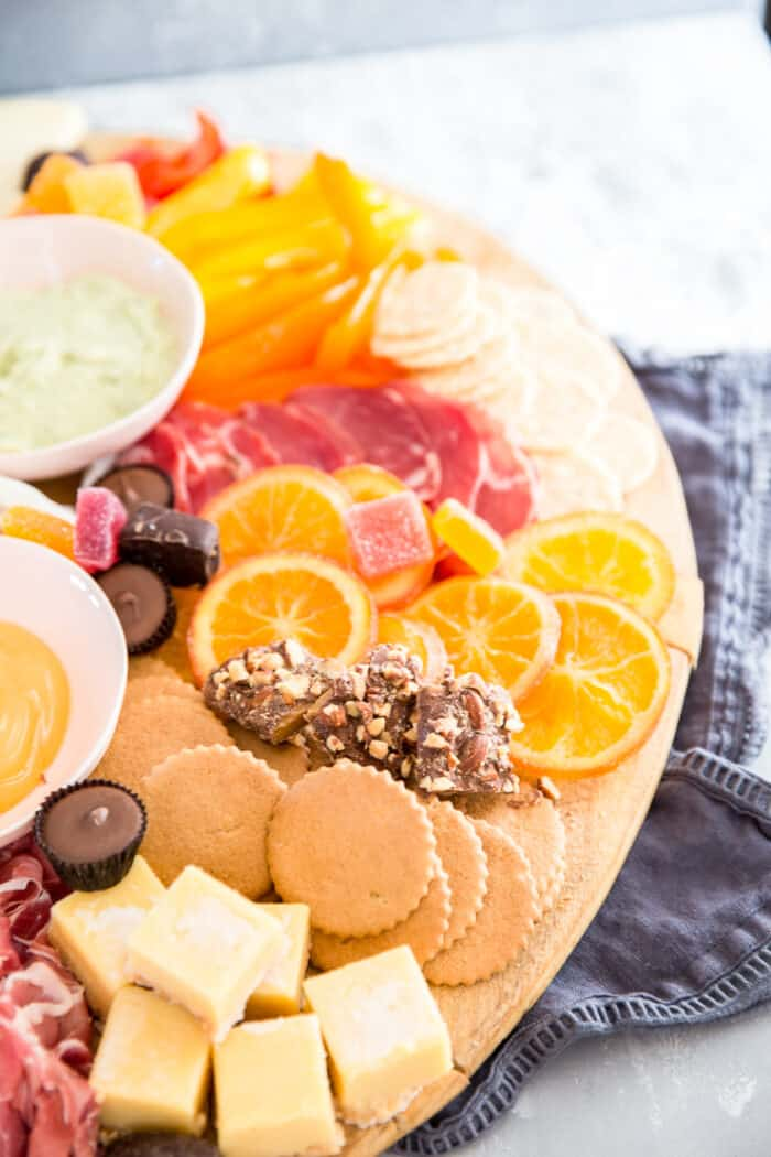 Charcuterie with orange slices