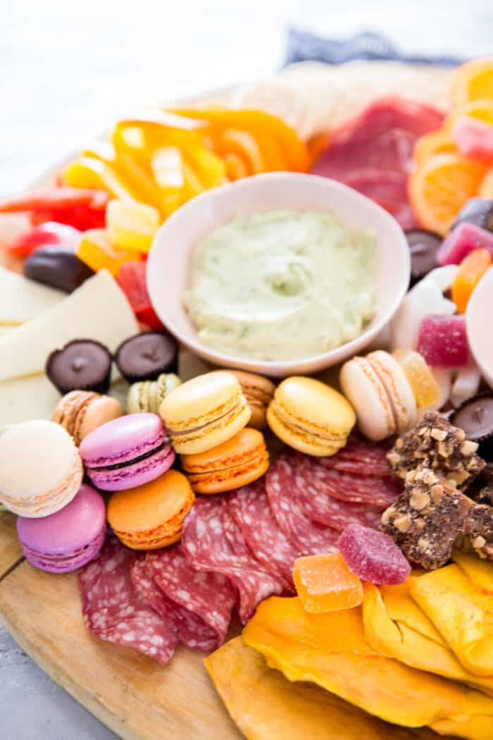 charcuterie with macarons