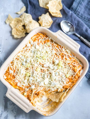 Buffalo chicken dip with chips on the side