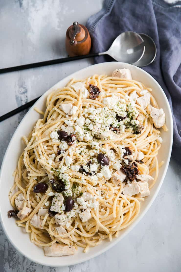 Mediterranean Pasta recipe on a platter