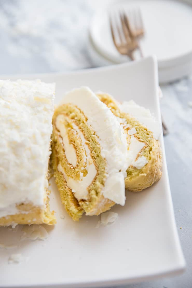 coconut cake roll with frosting