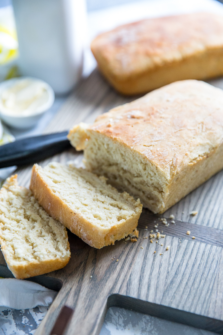 homemade bread recipe on cutting board, sliced