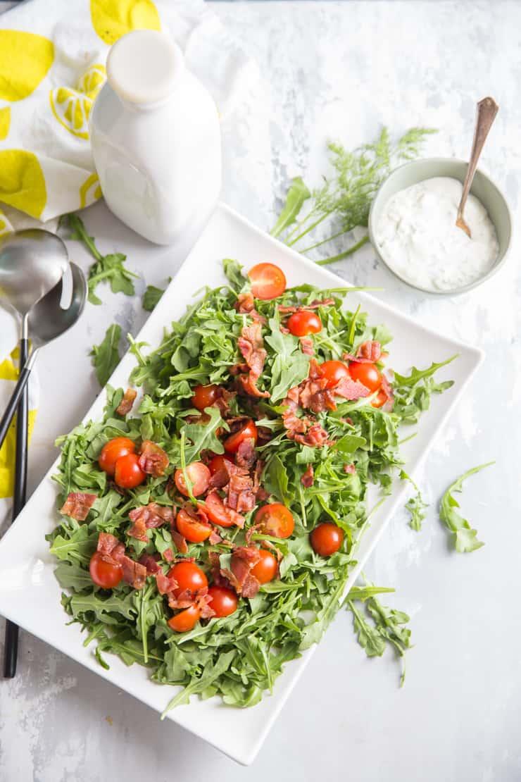blt salad on a white serving plate