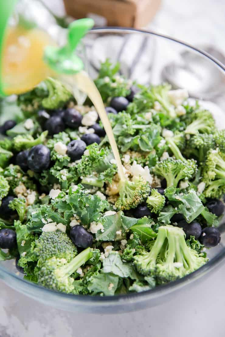 quinoa salad with dressing poured on