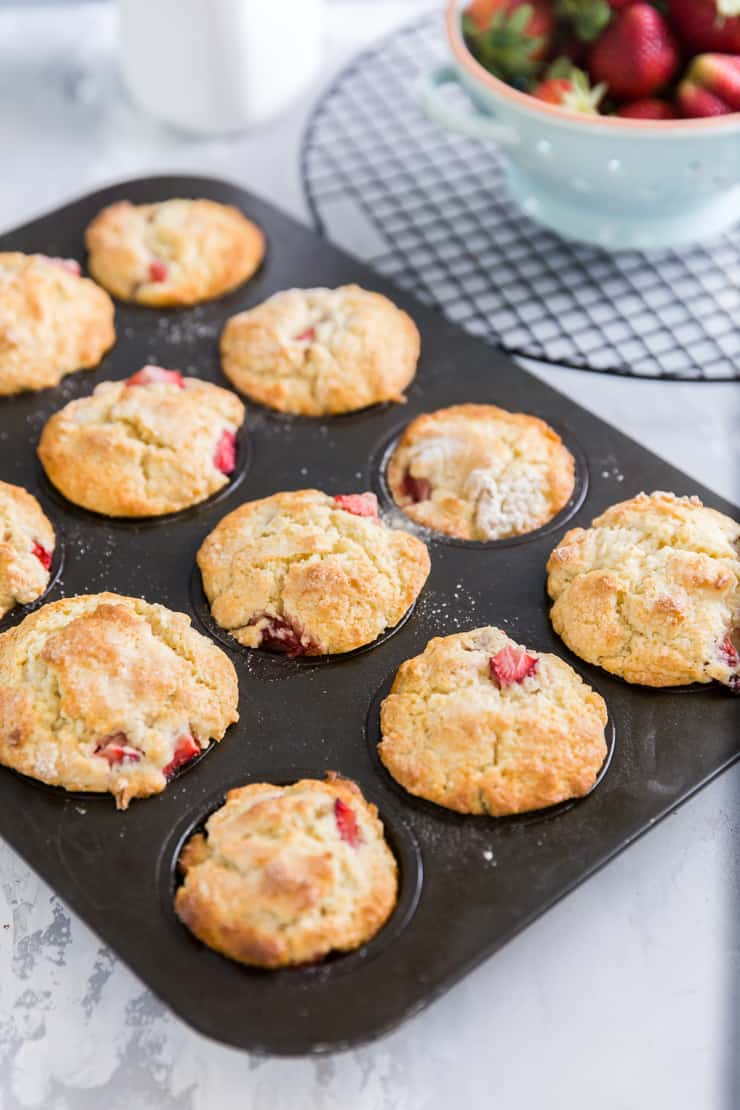 strawberry muffins in a muffin pan