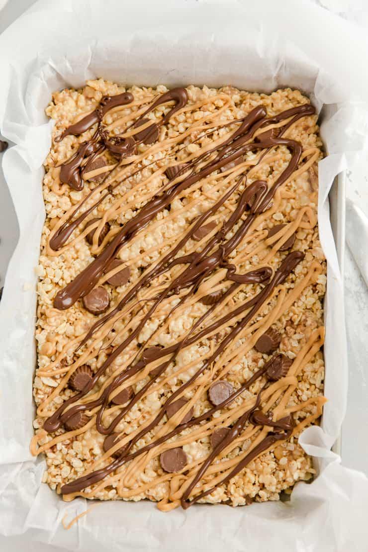 whole pan of peanut butter rice krispie treats