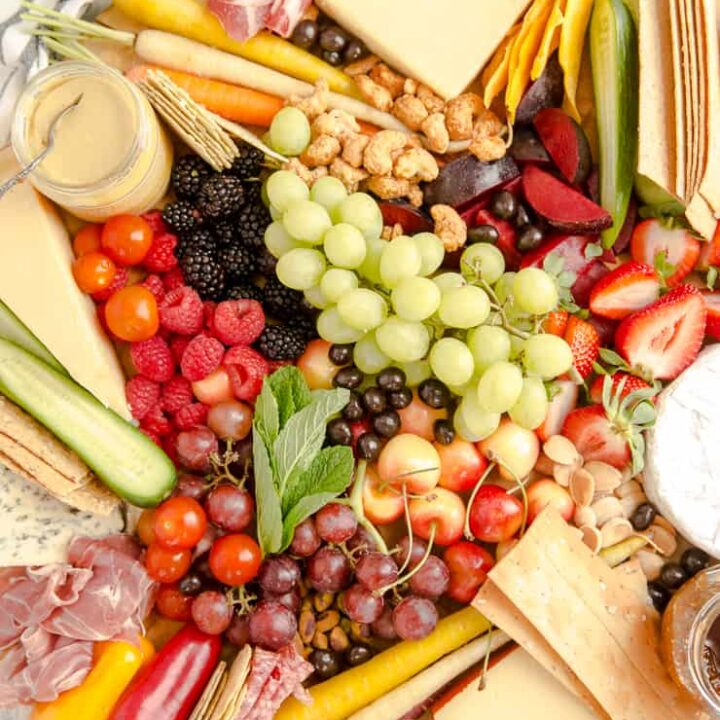 charcuterie board with grapes