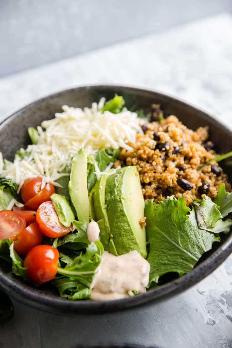 quinoa bowl in a dark bowl
