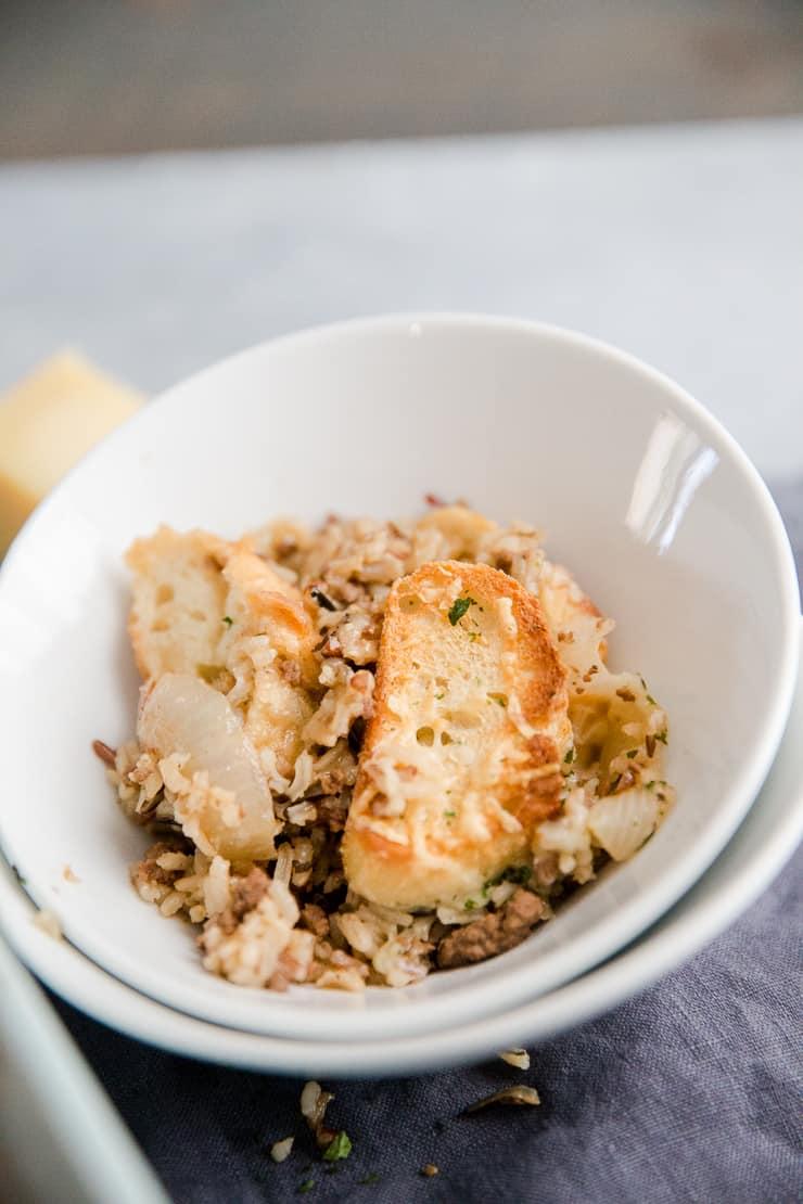 ground beef casserole in a white bowl