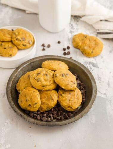 plate of pumpkin chocolate chip cookies