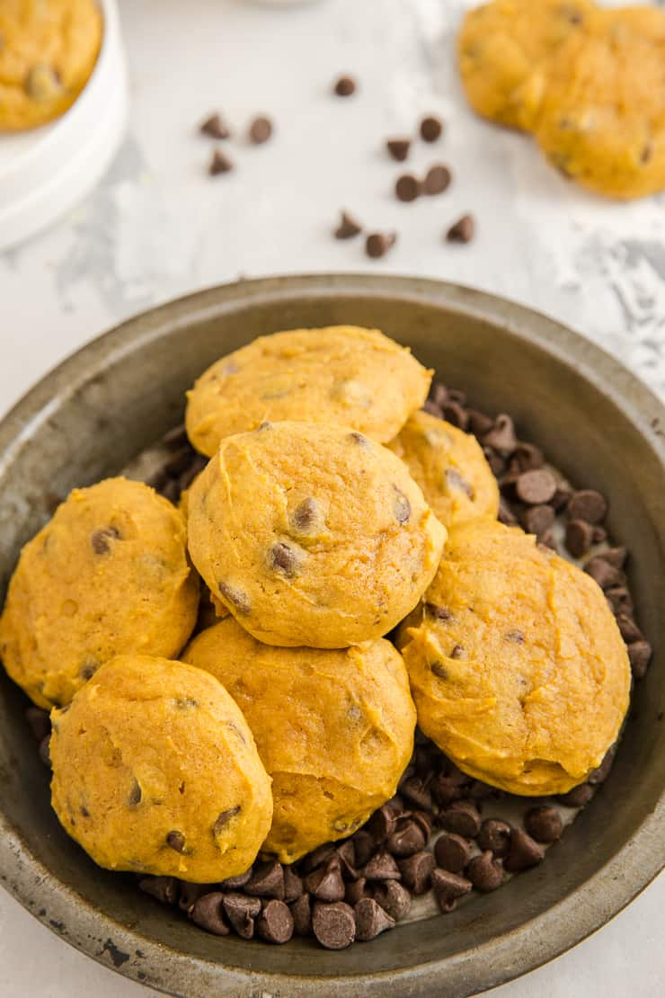 pumpkin chocolate chip cookies on a tin