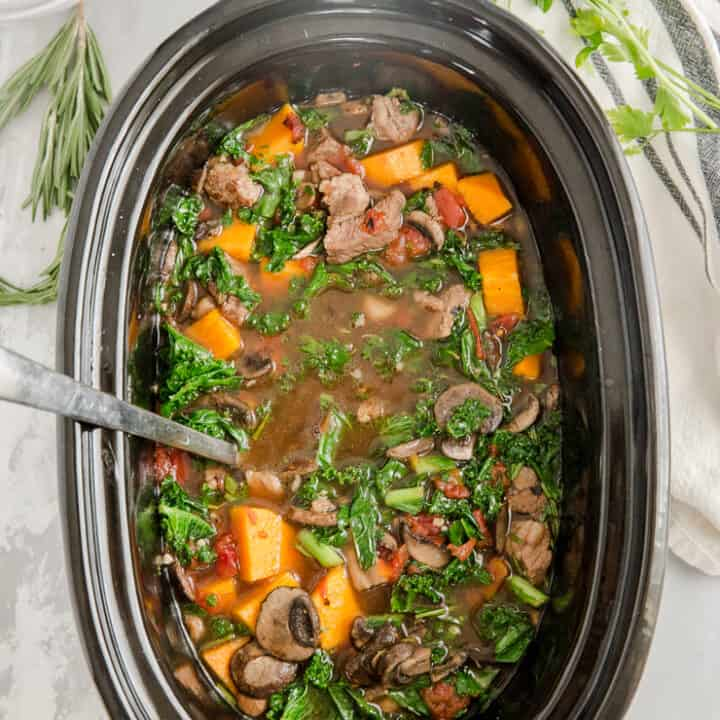 vegetable beef in a slow cooker