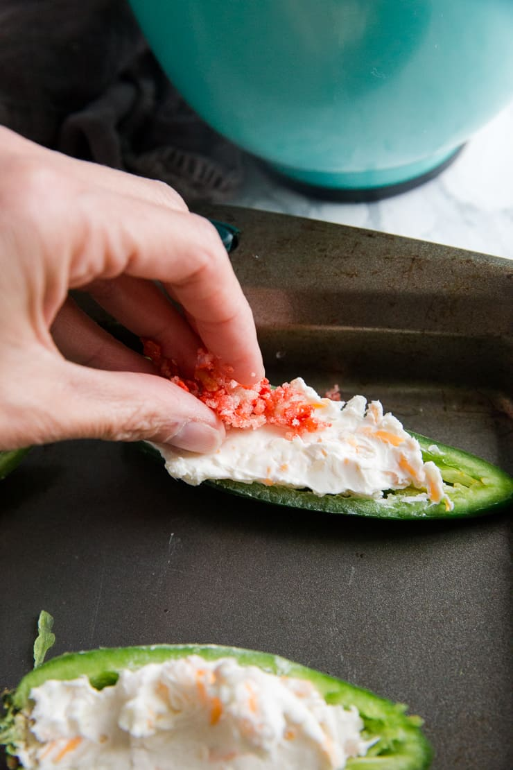 topping placed on a stuffed jalapeno