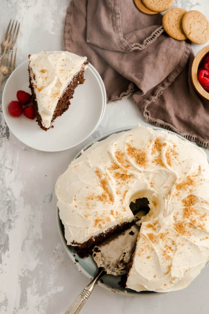 gingerbread cake with a slice on the side