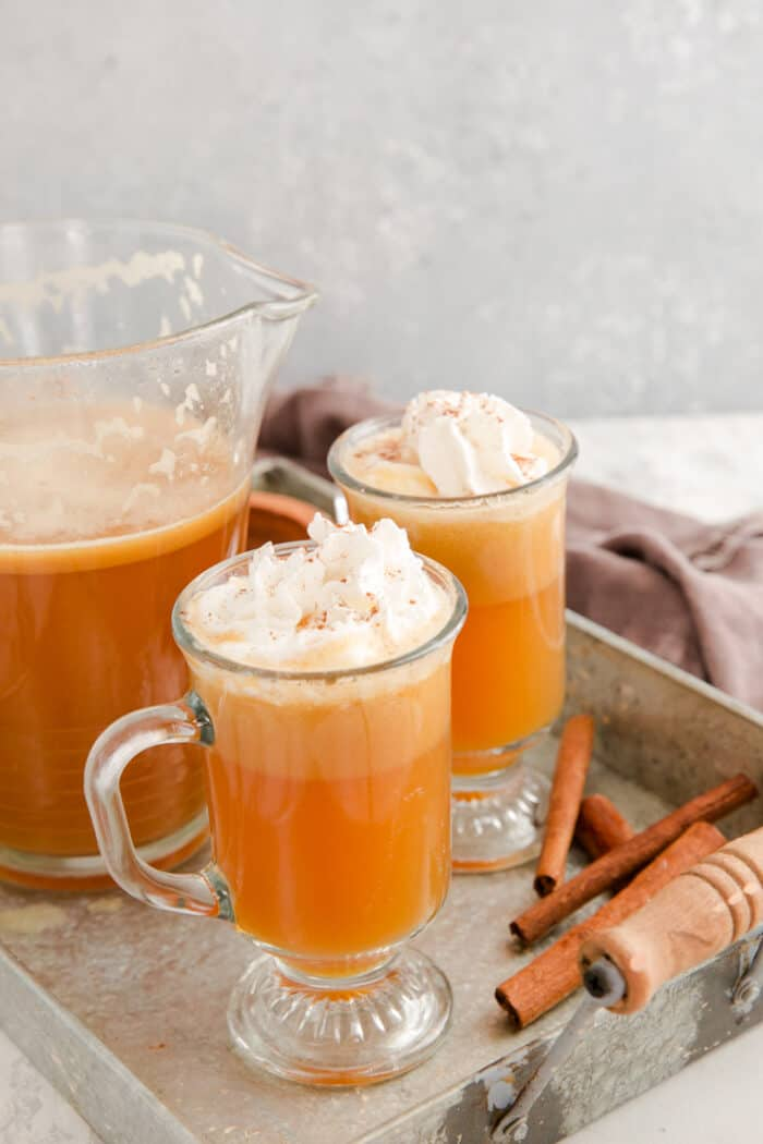 hot buttered rum two clear glasses