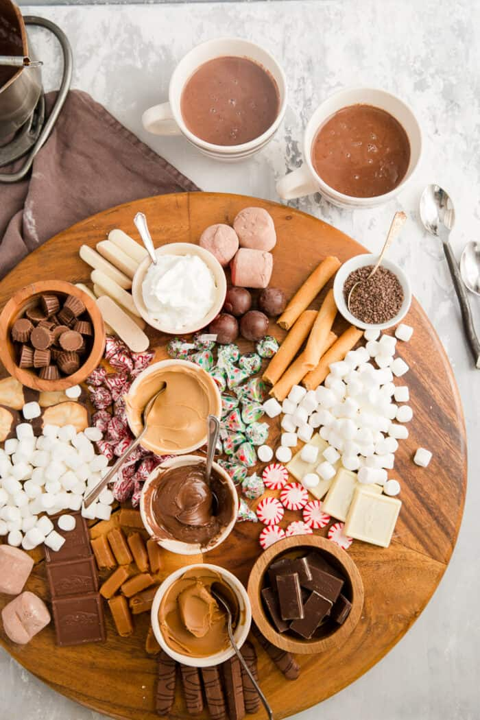 charcuterie platter with hot chocolate