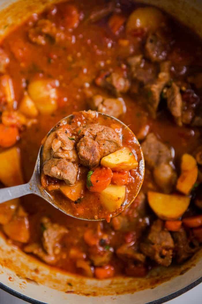 a ladle of lamb stew