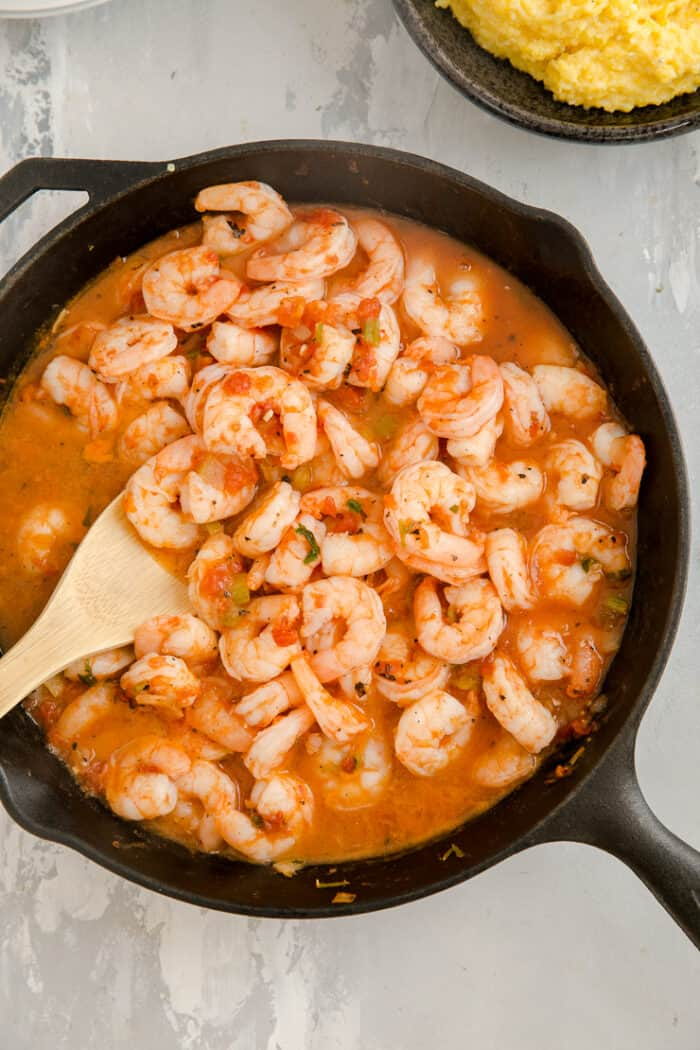 shrimp in a cast iron skillet