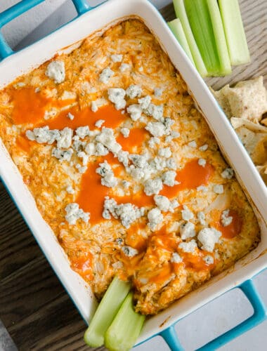 buffalo chicken dip with two celery stick